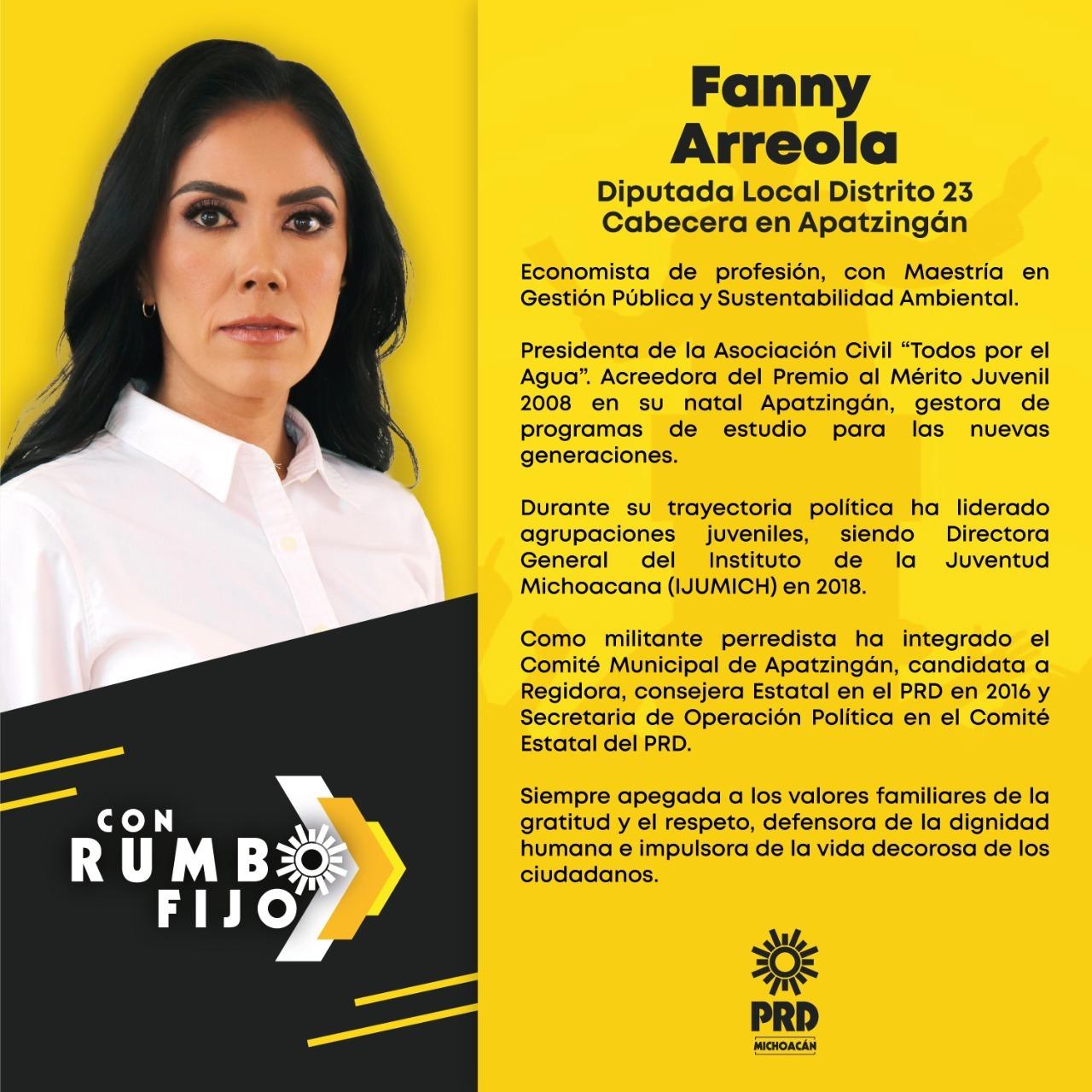 Fanny Arreola, Diputada local Distrito 23 Cabecera en Apatzingán